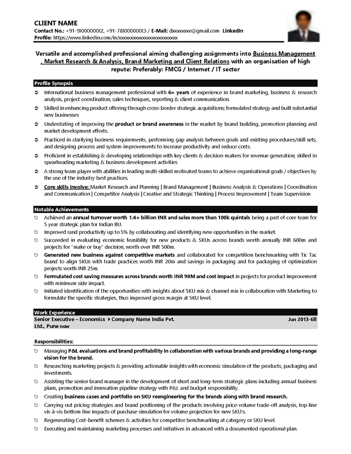 fmcg resume sample exolgbabogadosco - Fmcg Resume Sample