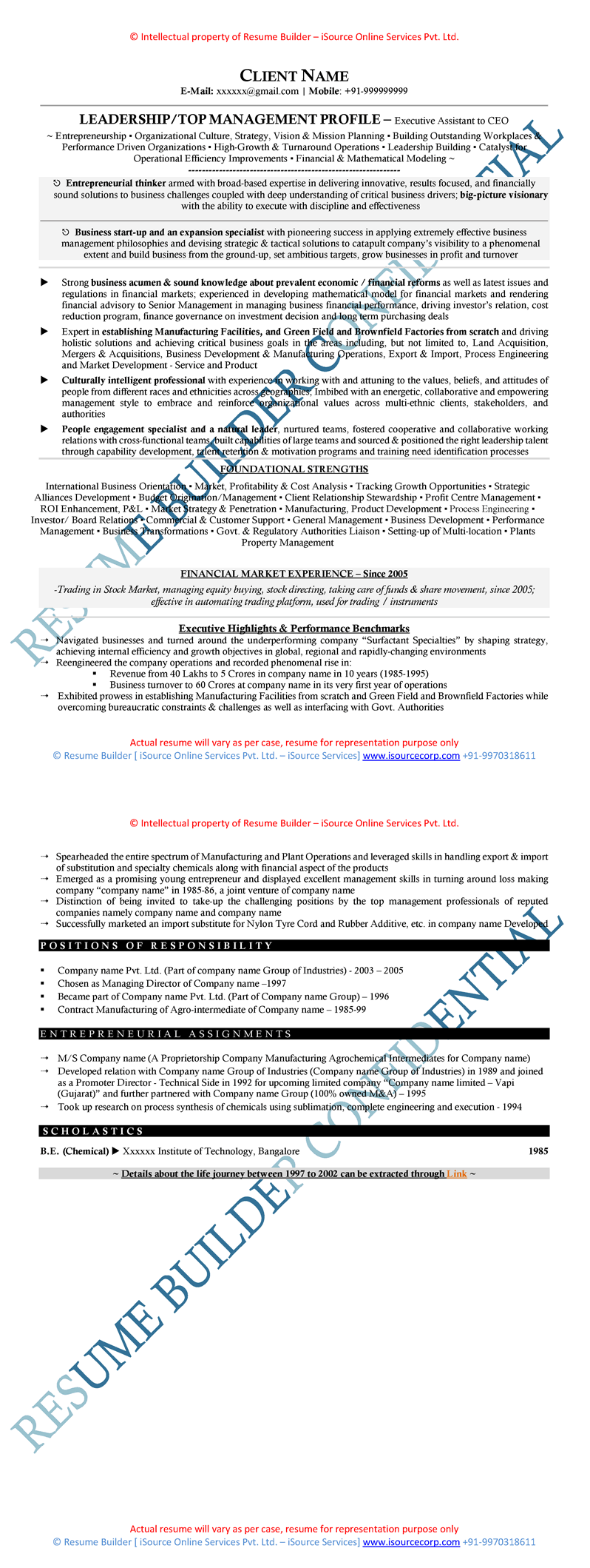 Sample Of Senior Level Resume  Actual Free Resume Builder