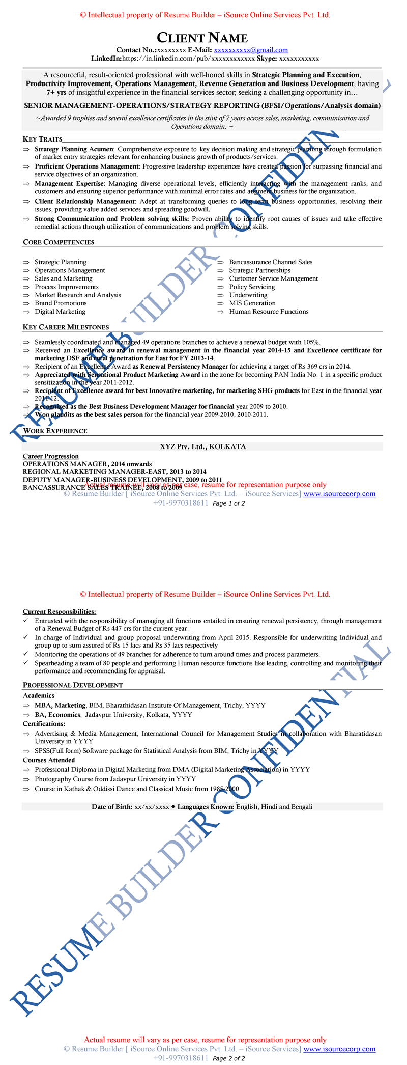 resume samples cv template cv sample sample of mid level professional