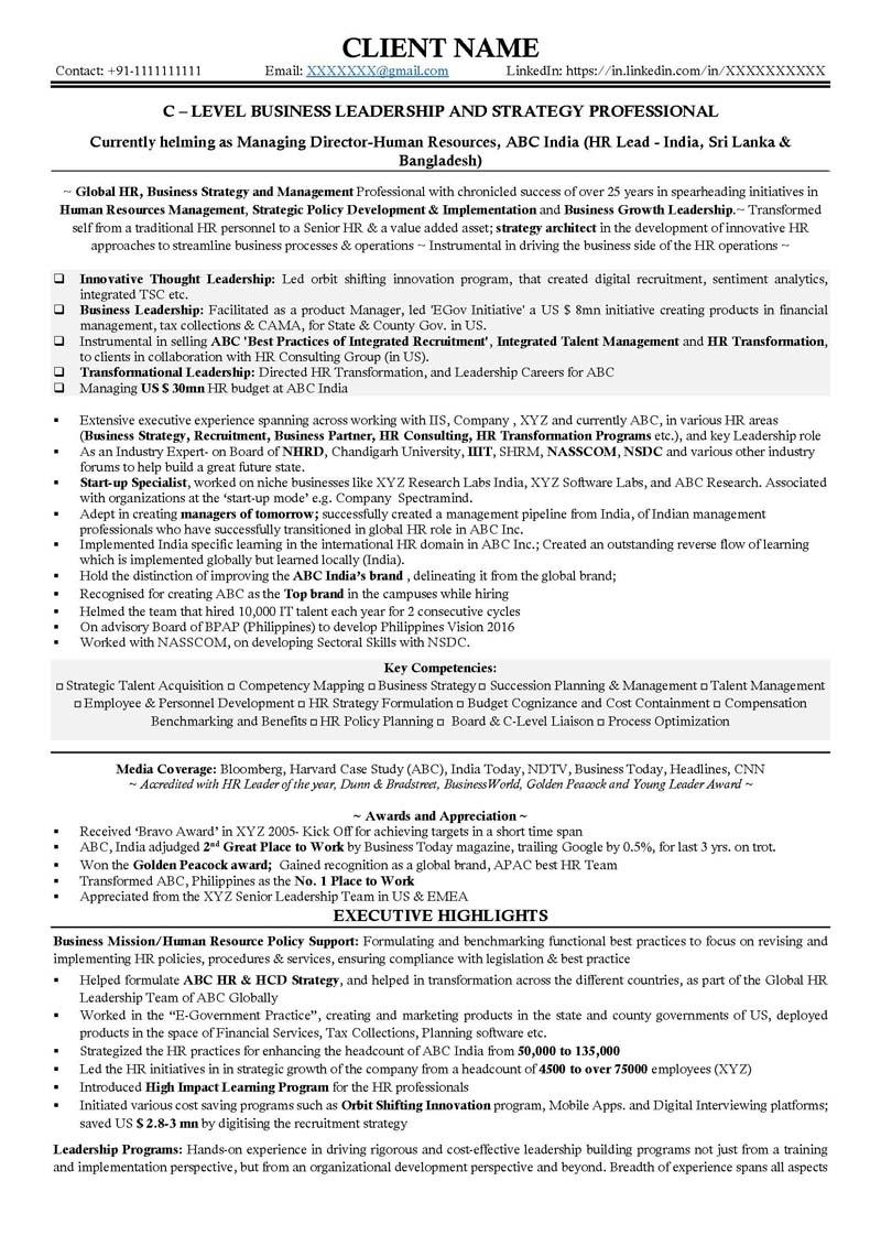 C level resume examples