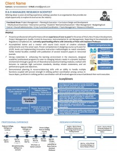 Research and Development R&D visual resume