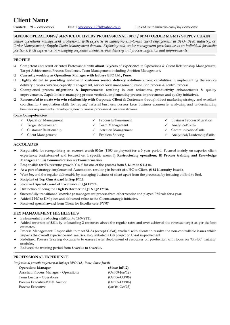 Business Operations Manager Resume Examples CV Templates Samples Brefash  Resume For Operations Manager