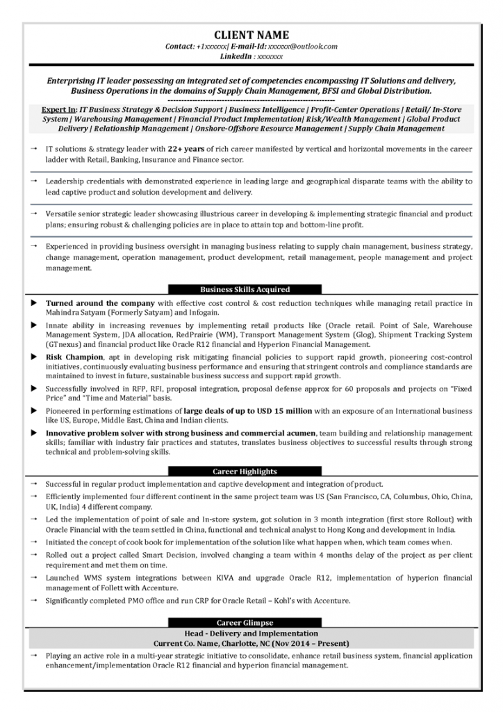 Text Resume: IT leadership text resume sample